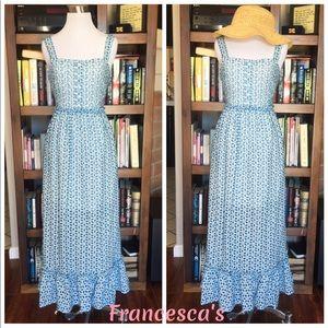 Francesca's Blue and White Gingham Maxi Sundress